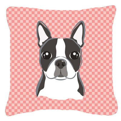 Checkerboard Boston Terrier Indoor/Outdoor Throw Pillow Color: Pink, Size: 14 H x 14 W x 4 D