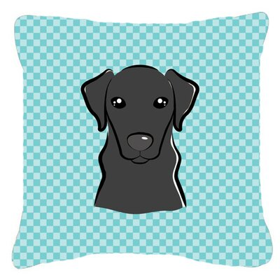 Checkerboard Black Labrador Indoor/Outdoor Throw Pillow Color: Blue, Size: 14 H x 14 W x 4 D