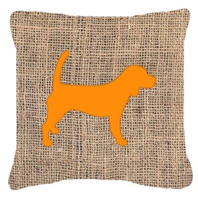 Beagle Burlap Indoor/Outdoor Throw Pillow Size: 14 H x 14 W x 4 D, Color: Orange