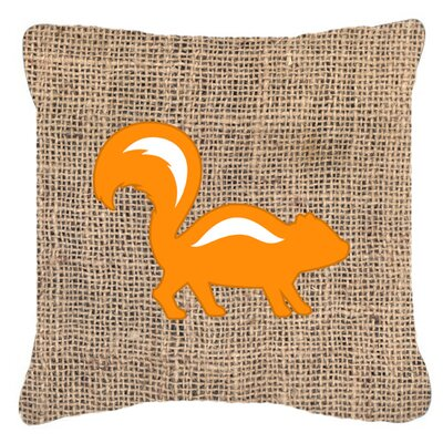 Skunk Burlap Indoor/Outdoor Throw Pillow Size: 18 H x 18 W x 5.5 D, Color: Orange