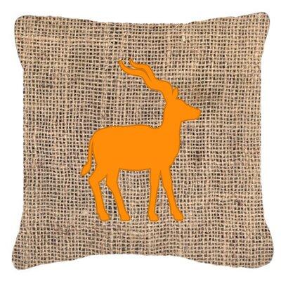 Deer Burlap Indoor/Outdoor Throw Pillow Size: 18 H x 18 W x 5.5 D, Color: Orange