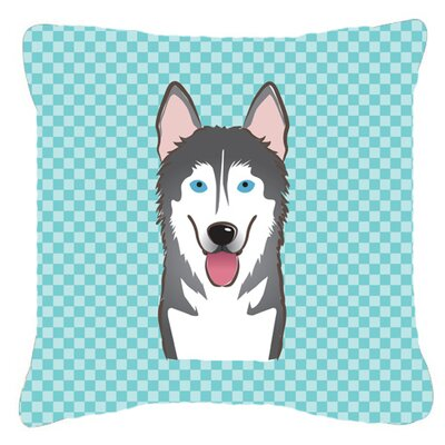 Checkerboard Alaskan Malamute Indoor/Outdoor Throw Pillow Color: Blue, Size: 14 H x 14 W x 4 D