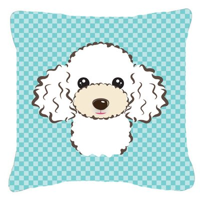 Checkerboard White Poodle Indoor/Outdoor Throw Pillow Color: Blue, Size: 14 H x 14 W x 4 D