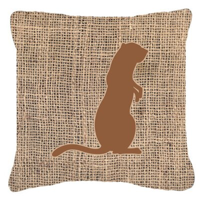 Meerkat Burlap Indoor/Outdoor Throw Pillow Size: 14 H x 14 W x 4 D, Color: Brown
