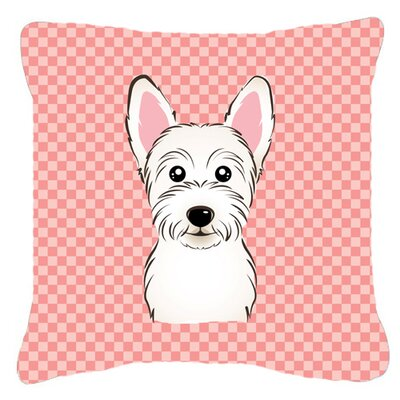 Checkerboard Westie Indoor/Outdoor Throw Pillow Size: 14 H x 14 W x 4 D, Color: Pink