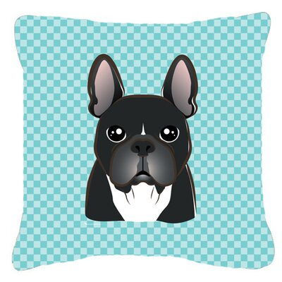 Checkerboard French Bulldog Indoor/Outdoor Throw Pillow Color: Blue, Size: 14 H x 14 W x 4 D