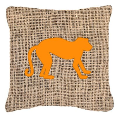 Monkey Burlap Indoor/Outdoor Throw Pillow Size: 14 H x 14 W x 4 D, Color: Orange