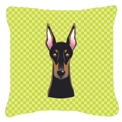Checkerboard Doberman Indoor/Outdoor Throw Pillow Color: Green, Size: 14 H x 14 W x 4 D