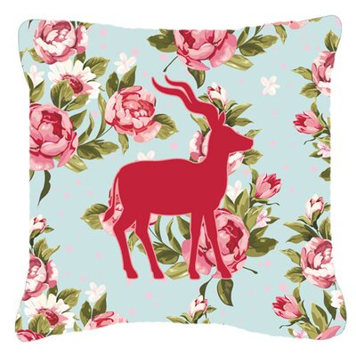 Deer Shabby Elegance Blue Roses Square Indoor/Outdoor Throw Pillow Size: 14 H x 14 W x 4 D