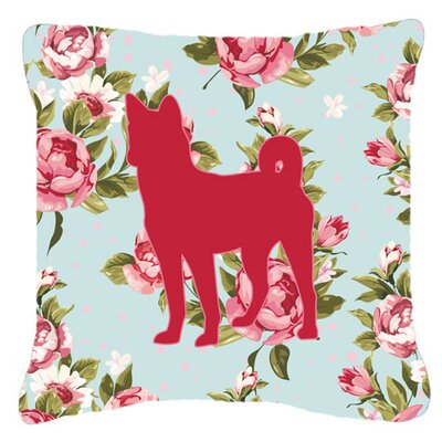 Basenji Shabby Elegance Blue Roses Indoor/Outdoor Throw Pillow Size: 14 H x 14 W x 4 D