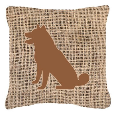 Shiba Inu Burlap Indoor/Outdoor Throw Pillow Size: 18 H x 18 W x 5.5 D, Color: Brown