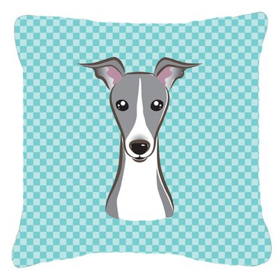 Checkerboard Italian Greyhound Indoor/Outdoor Throw Pillow Color: Blue, Size: 14 H x 14 W x 4 D