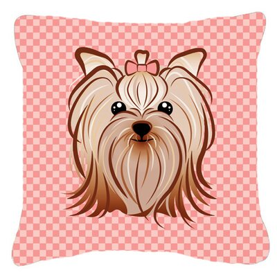 Checkerboard Yorkie Yorkishire Terrier Indoor/Outdoor Throw Pillow Color: Pink, Size: 14 H x 14 W x 4 D