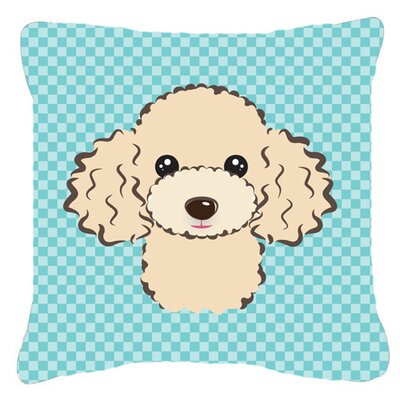 Checkerboard Buff Poodle Indoor/Outdoor Throw Pillow Color: Blue, Size: 14 H x 14 W x 4 D