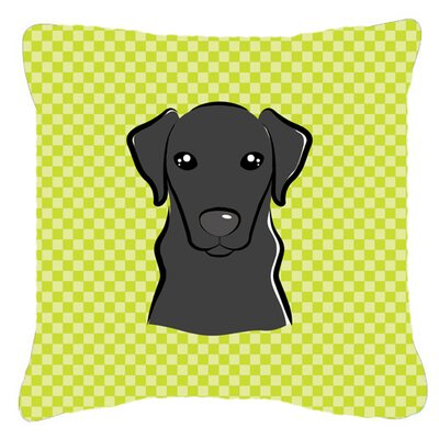 Checkerboard Black Labrador Indoor/Outdoor Throw Pillow Color: Green, Size: 14 H x 14 W x 4 D