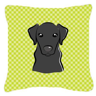 Checkerboard Black Labrador Indoor/Outdoor Throw Pillow Color: Green, Size: 14 H x 14 W x 4 D