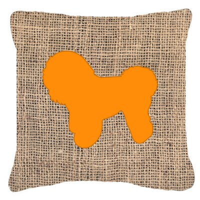 Bichon Frise Burlap Indoor/Outdoor Throw Pillow Size: 14 H x 14 W x 4 D, Color: Orange