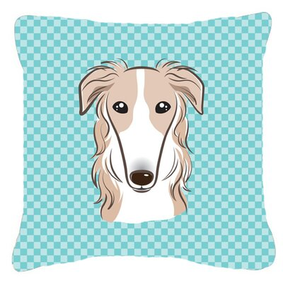Checkerboard Borzoi Indoor/Outdoor Throw Pillow Color: Blue, Size: 14 H x 14 W x 4 D