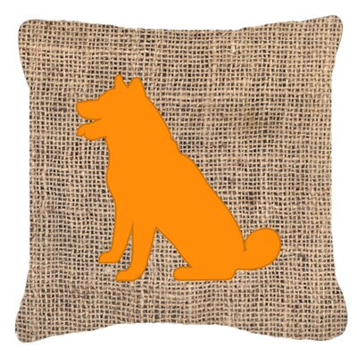 Shiba Inu Burlap Indoor/Outdoor Throw Pillow Size: 14 H x 14 W x 4 D, Color: Orange