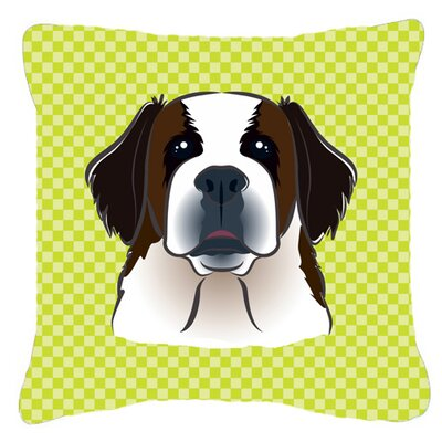 Checkerboard Saint Bernard Indoor/Outdoor Throw Pillow Color: Green, Size: 14 H x 14 W x 4 D