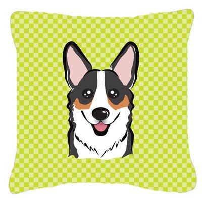 Checkerboard Corgi Indoor/Outdoor Throw Pillow Size: 18 H x 18 W x 5.5 D, Color: Green