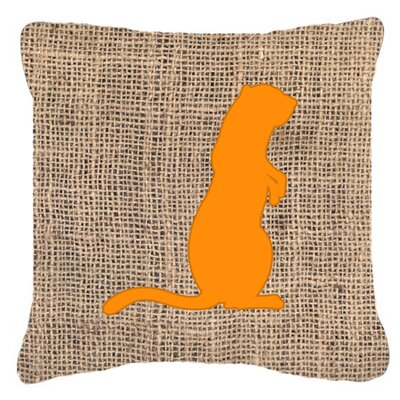 Meerkat Burlap Indoor/Outdoor Throw Pillow Size: 14 H x 14 W x 4 D, Color: Orange