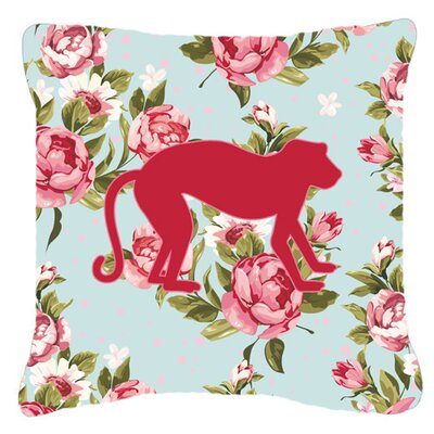 Monkey Shabby Elegance Blue Roses Indoor/Outdoor Throw Pillow Size: 14 H x 14 W x 4 D