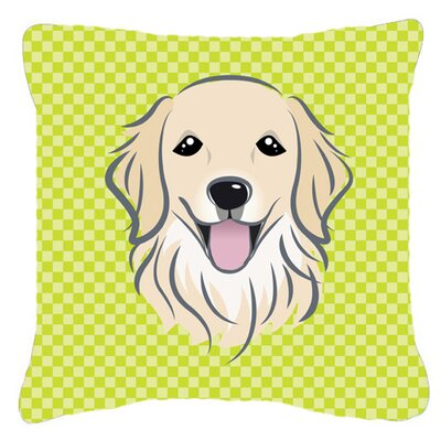 Checkerboard Golden Retriever Indoor/Outdoor Throw Pillow Color: Green, Size: 14 H x 14 W x 4 D
