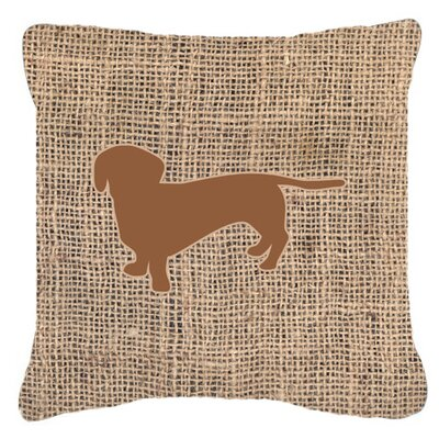 Dachshund Burlap Square Indoor/Outdoor Throw Pillow Size: 14 H x 14 W x 4 D, Color: Brown