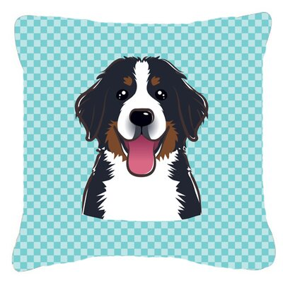 Checkerboard Bernese Mountain Dog Indoor/Outdoor Throw Pillow Color: Blue, Size: 14 H x 14 W x 4 D