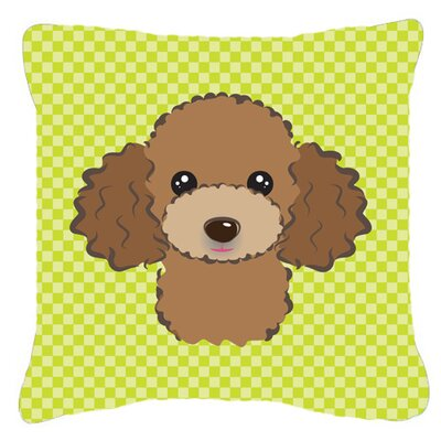 Checkerboard Chocolate Brown Poodle Indoor/Outdoor Throw Pillow Color: Green, Size: 14 H x 14 W x 4 D