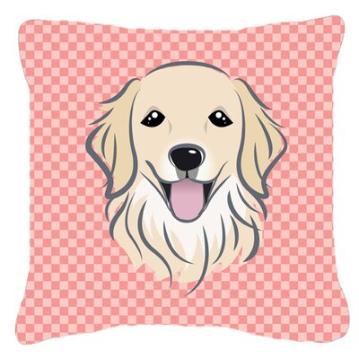 Checkerboard Golden Retriever Indoor/Outdoor Throw Pillow Color: Pink, Size: 14 H x 14 W x 4 D