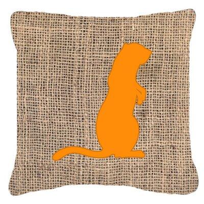 Meerkat Burlap Indoor/Outdoor Throw Pillow Size: 18 H x 18 W x 5.5 D, Color: Orange
