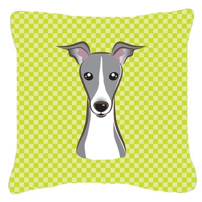 Checkerboard Italian Greyhound Indoor/Outdoor Throw Pillow Color: Green, Size: 14 H x 14 W x 4 D