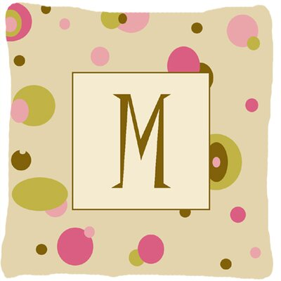 Monogram Initial Tan Dots Indoor/Outdoor Throw Pillow Letter: M