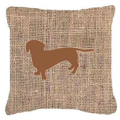 Dachshund Burlap Square Indoor/Outdoor Throw Pillow Size: 18 H x 18 W x 5.5 D, Color: Brown