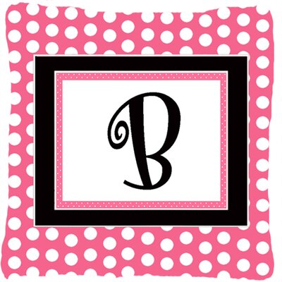 Letter Initial Monogram Pink Black Polka Dots Indoor/Outdoor Throw Pillow Letter: B