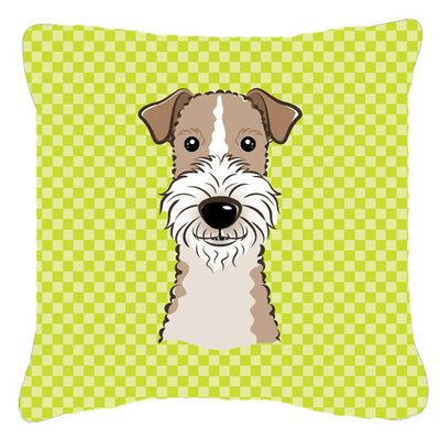 Checkerboard Wire Haired Fox Terrier Indoor/Outdoor Throw Pillow Color: Green, Size: 14 H x 14 W x 4 D