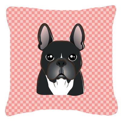 Checkerboard French Bulldog Indoor/Outdoor Throw Pillow Size: 14 H x 14 W x 4 D, Color: Pink