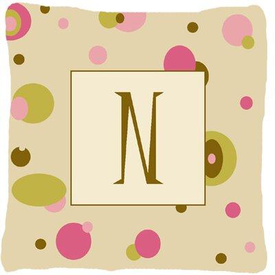 Monogram Initial Tan Dots Indoor/Outdoor Throw Pillow Letter: N