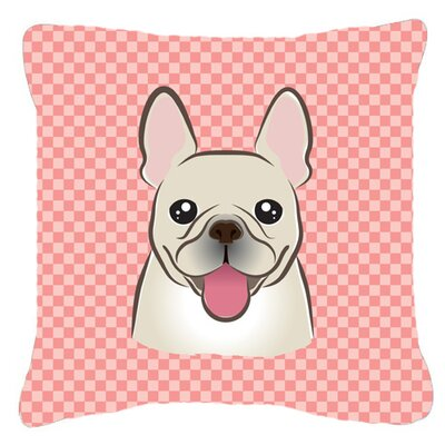 Checkerboard French Bulldog Indoor/Outdoor Throw Pillow Color: Pink, Size: 14 H x 14 W x 4 D