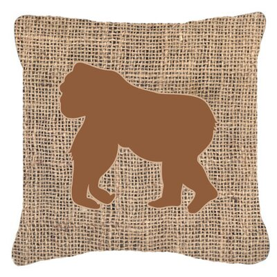 Gorilla Burlap Indoor/Outdoor Throw Pillow Size: 14 H x 14 W x 4 D, Color: Brown