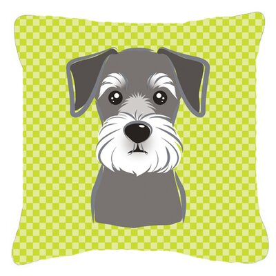 Checkerboard Schnauzer Indoor/Outdoor Throw Pillow Color: Green, Size: 14 H x 14 W x 4 D