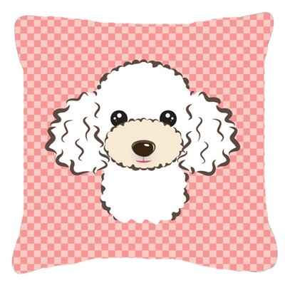 Checkerboard White Poodle Indoor/Outdoor Throw Pillow Color: Pink, Size: 14 H x 14 W x 4 D