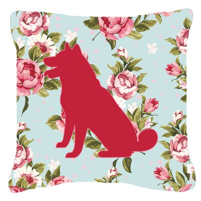 Shiba Inu Shabby Elegance Blue Roses Indoor/Outdoor Throw Pillow Size: 18 H x 18 W x 5.5 D