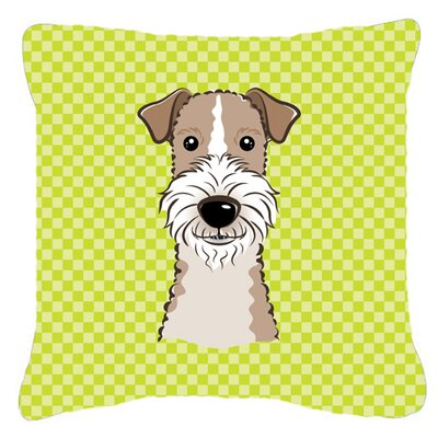 Checkerboard Wire Haired Fox Terrier Indoor/Outdoor Throw Pillow Color: Green, Size: 18 H x 18 W x 5.5 D