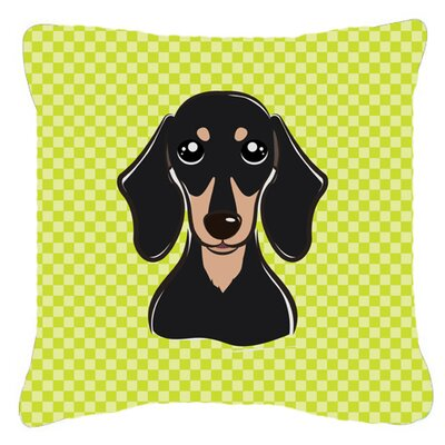 Checkerboard Smooth Black and Tan Dachshund Indoor/Outdoor Throw Pillow Color: Green, Size: 14 H x 14 W x 4 D