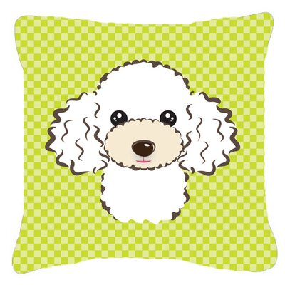Checkerboard White Poodle Indoor/Outdoor Throw Pillow Color: Green, Size: 14 H x 14 W x 4 D