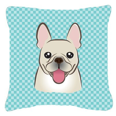 Checkerboard French Bulldog Indoor/Outdoor Throw Pillow Color: Blue, Size: 14