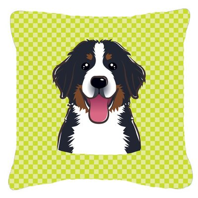 Checkerboard Bernese Mountain Dog Indoor/Outdoor Throw Pillow Color: Green, Size: 14 H x 14 W x 4 D